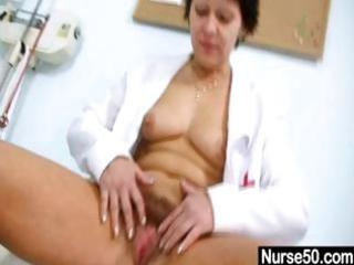hawt mother i in nurse uniform stretching bushy