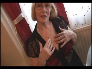 hairy granny in hose striptease