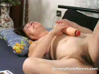 granny toying her fresh hairless vagina