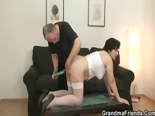 her old hairy muff is toyed and drilled