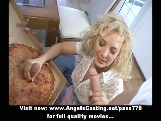 rich blonde does oral-sex and cook jerking for