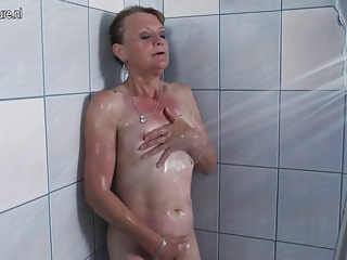 good grandmother getting messy in her washroom