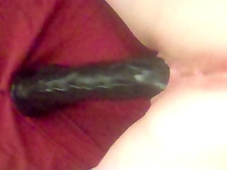 getting fucked by my large dark dildo