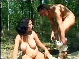 pregnant has hardcore enjoyment in the woods