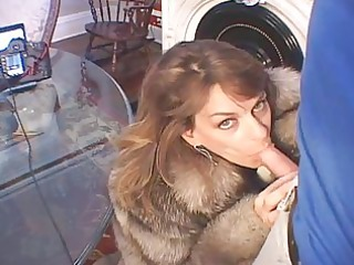 chelsea in fur coat sucks knob