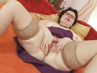old grandma with glasses fingering unshaved vagina