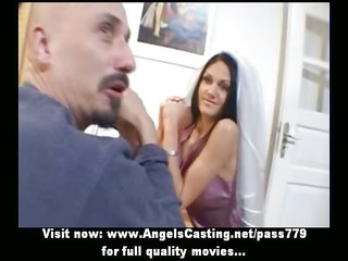 awesome brunette hair bride doing blow job