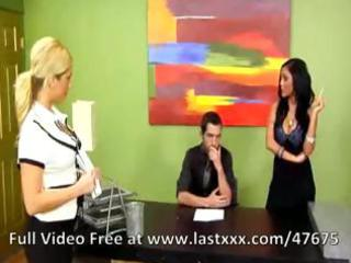 breasty brunette mother i in the office receives
