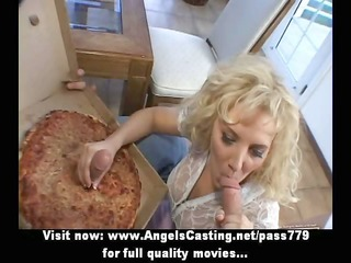 rich blonde does oral sex and cook jerking for