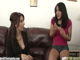 mamma teaches dirty daughter how to engulf a cock