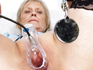 golden-haired granny nurse self exam with fur pie