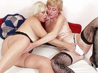 blond milfs giving a kiss licking and fake penis