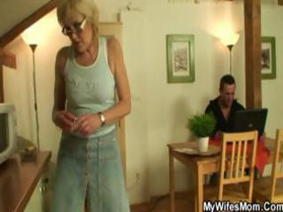 lewd golden-haired granny sucks and fucks her