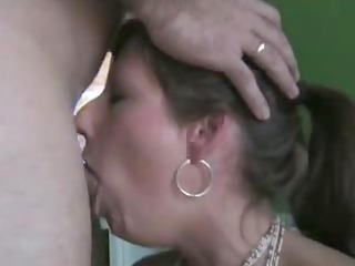 Wife deepthroats and swallow