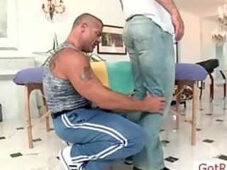 muscled aged fellow gets massaged part9