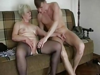 corpulent blond granny seduces a y...