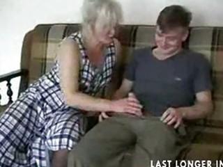 older blond in nylons bonks the guy part1