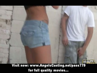 pleasant blonde amateur girl toying dicks and