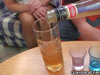 partying lads nail blonde grandma