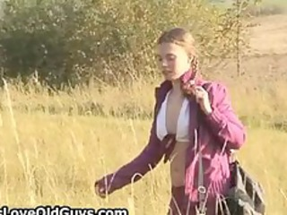 legal age teenager hotty on a hike outdoor strips