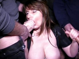breasty brunette mother i acquires into a bukkake