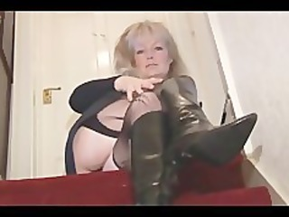 aged busty golden-haired sweetheart in nylons and
