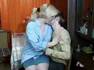 russian mom and boy having a swallow