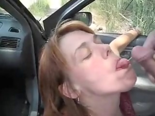 car oral-service enjoyment and jizz flow with a