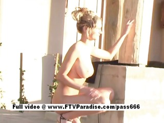astounding gal amy breasty hotty outdoors posing