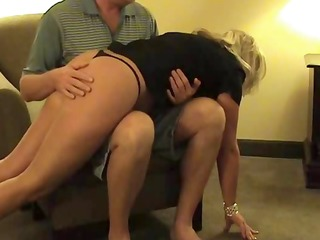 sexy golden-haired middle-aged wench receives her