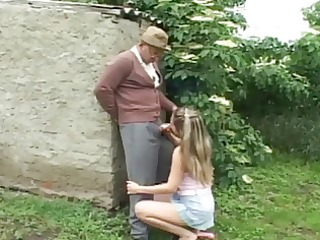 naughty old man having outdoor sex with slutty