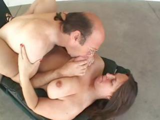 corpulent older brunette eats his dong and