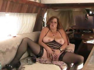 big beautiful woman granny bonks ass with sextoy