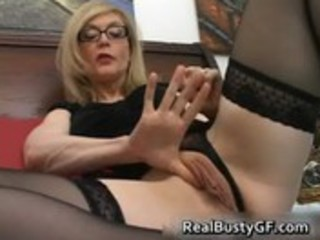 blonde mamma in glasses licking inflexible