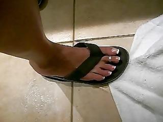 lengthy toes darksome flip flops