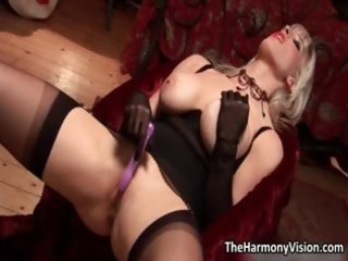 lascivious blonde milf with large tits toying