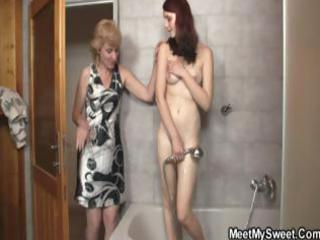golden-haired mom interrupts daughters shower and