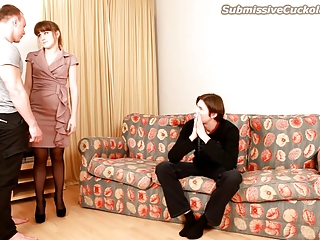 cuckold watches his wife engulf ramrod and