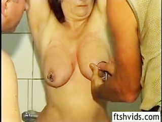 aged redhead cleaned spanked and screwed from