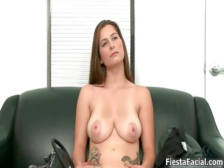 casting movie scene of a big natural tits