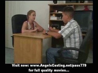 redhead cheerleader does blowjob for nerdy guy in