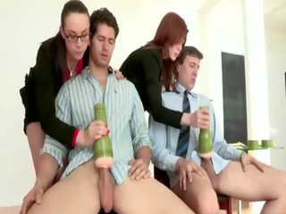 cfnm femdom milfs sucking dick at office for