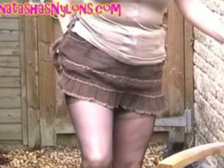 english milf in darksome seamed fully fashioned