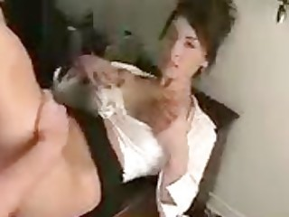 big-boob brunette gets drilled and facialed in