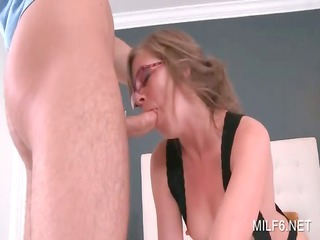 superb mamma in stockings deep throating long