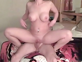 sexy housewife slams down on his cock and then