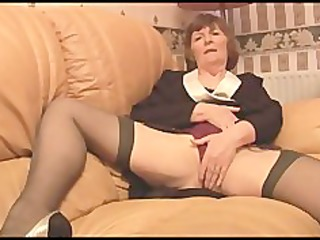 hirsute granny in nylons plays with pants then