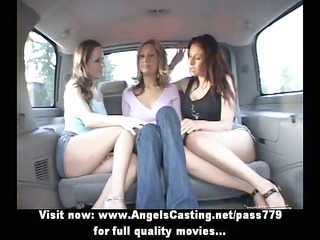 lesbo women and cute hitchhiker giving a kiss in