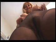 breasty older blond in pantyhose and slide