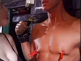 lusty asian chick has her white fellow in bondage